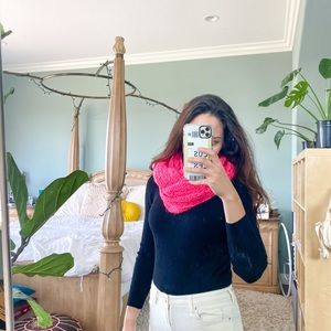 Pink Fuschia Knitted Infinity Scarf